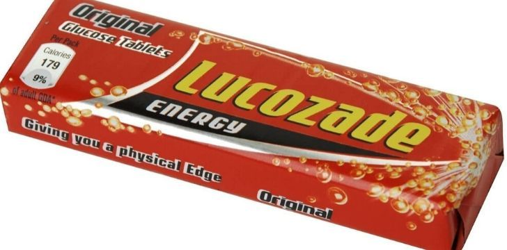 A packet of Lucozade Energy tablets.