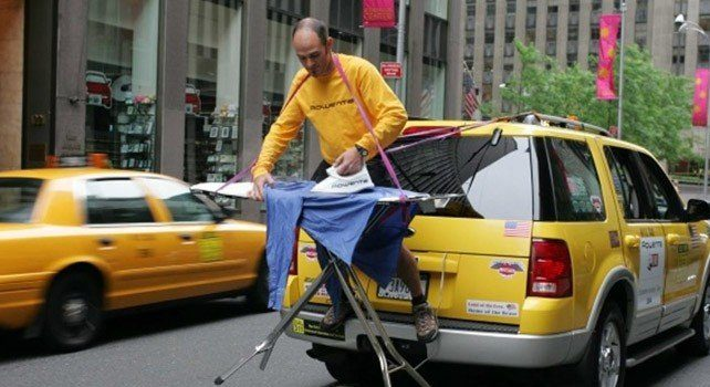Extreme Ironing Taxi Cab