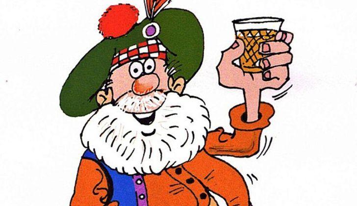 A cartoon drunk Scotsman