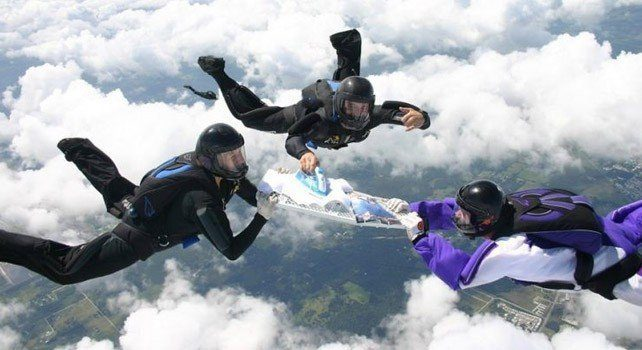 Extreme Ironing Whilst Skydiving