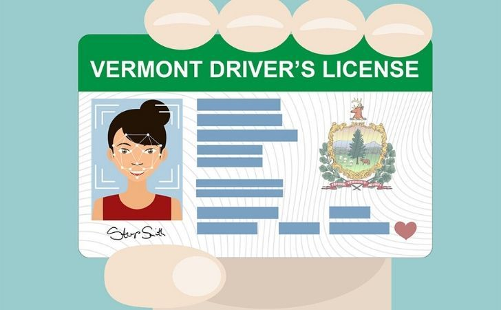 Cartoon image of a US driver's license
