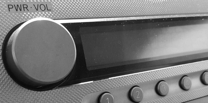 The volume button on a car radio