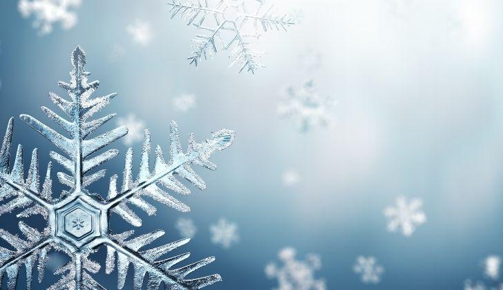 Several falling snowflakes