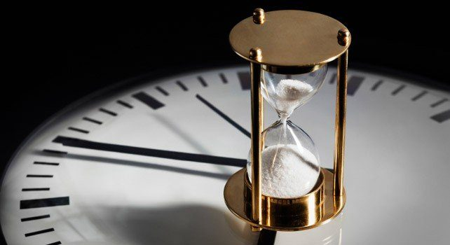 Hourglass on a clock