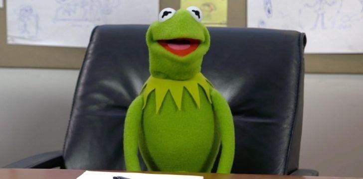 Kermit sat on a leather sofa
