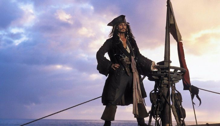 Captain Jack Sparrow with clouds behind him.
