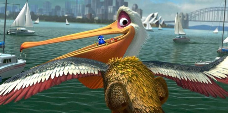 Nigel flying with Marlin and Dory in his mouth in Finding Nemo.