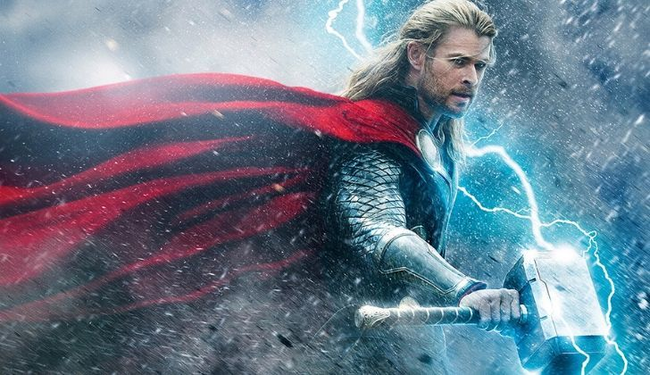 Dramatic picture of Thor holding his hammer.