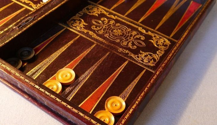 A vintage backgammon board.