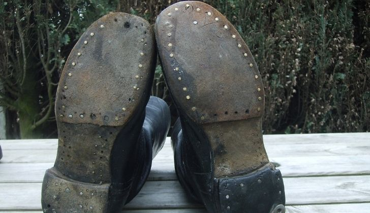 The soles of leather boots