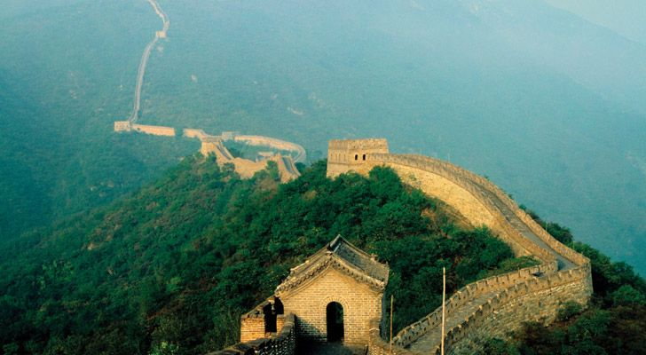 The Great Wall of China snakes through many provinces of China.