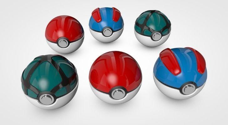 Six different Poké Balls