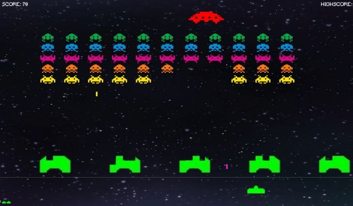 A screenshot of the classic game Space Invaders.