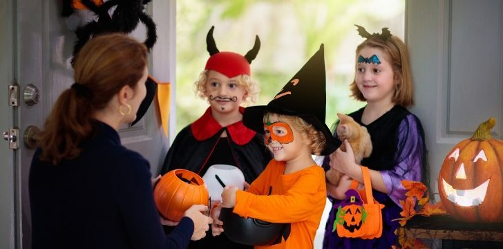 Children today trick or treating.