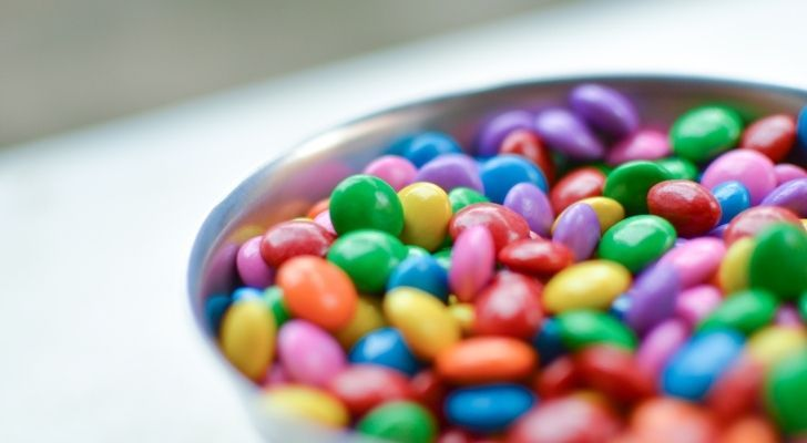A bowl of M&Ms without Ms on them