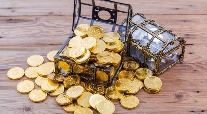 Lots of golden chocolate coins