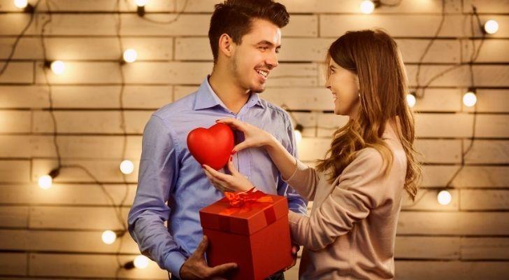 A couple celebrating Valentines Day