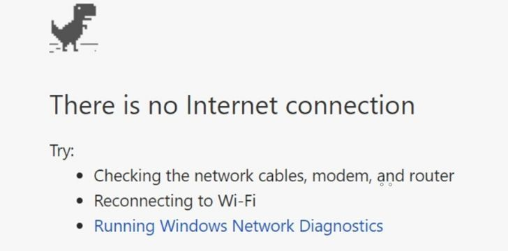 A screen shot of a web browser reading 'There is no internet connection.