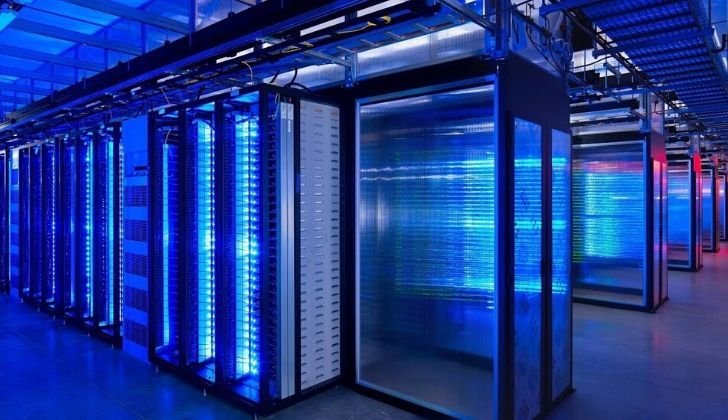 The Watson supercomputer fills a room from floor to ceiling.