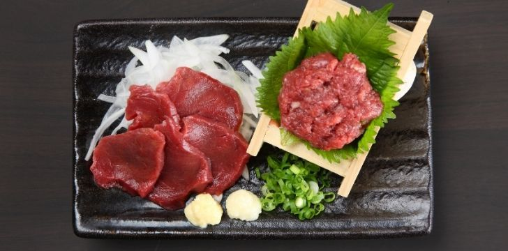 Raw horse meat cuts