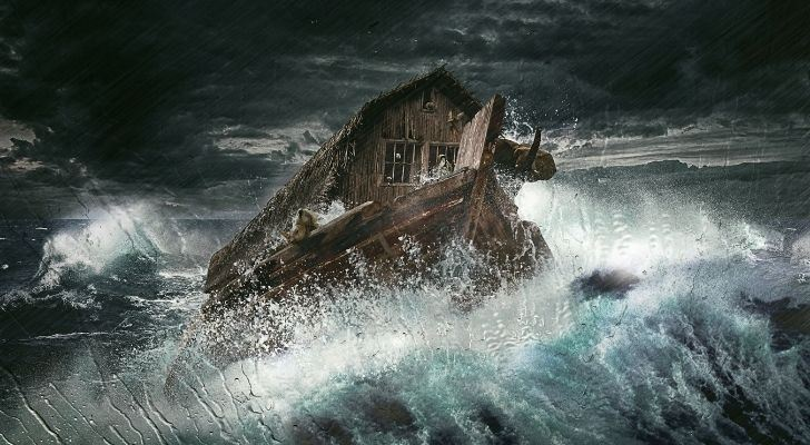 Noah's ark enduring a storm during the great flood
