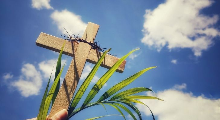 A wooden cross with spikes over the top of it
