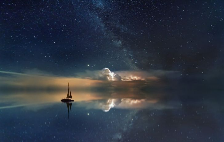 Fantasy dream of a boat floating on water