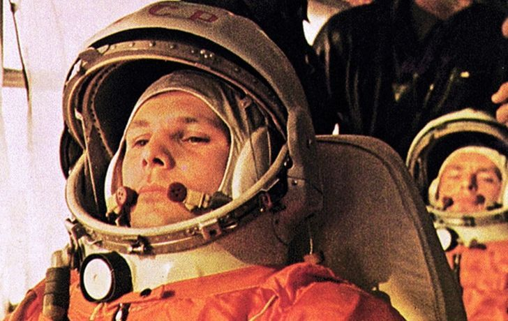 Yuri Gagarin in his space shuttle - the first man in space