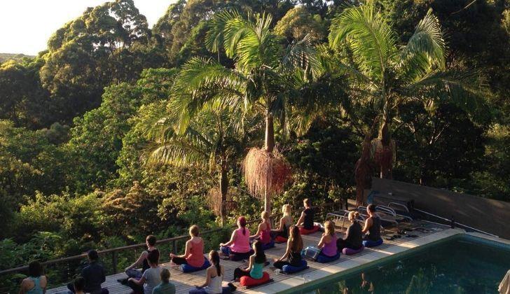 A group of meditators on a retreat on the Sunshine Coast