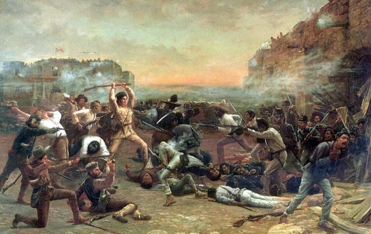 Illustration of people fighting during The Battle of Alamo