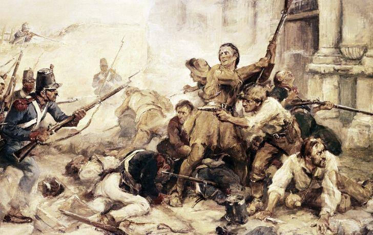 Illustration of battle during The Battle of Alamo