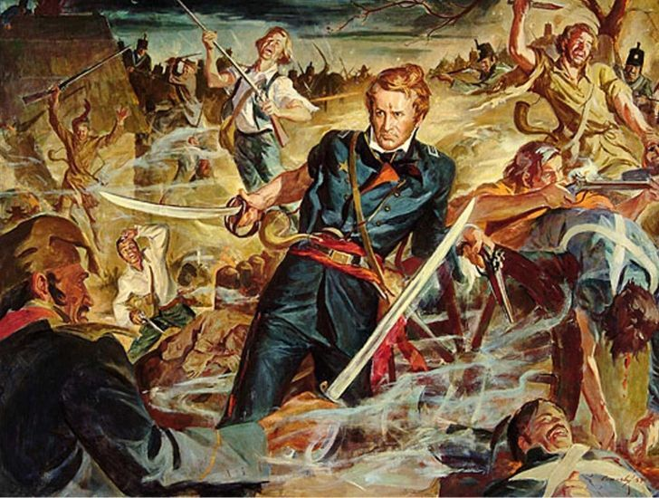 Illustration of Colonel Travis during the Battle of Alamo