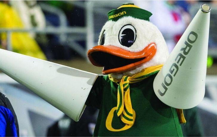 Donald Duck mascot for Oregon University