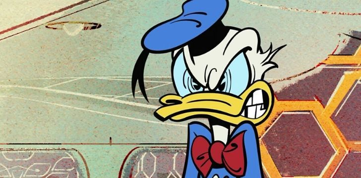 Donald Duck looking very angry.