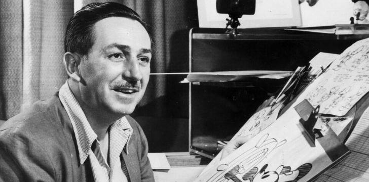 A black and white picture of Walt Disney.
