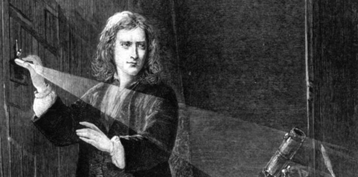Isaac Newton shining light