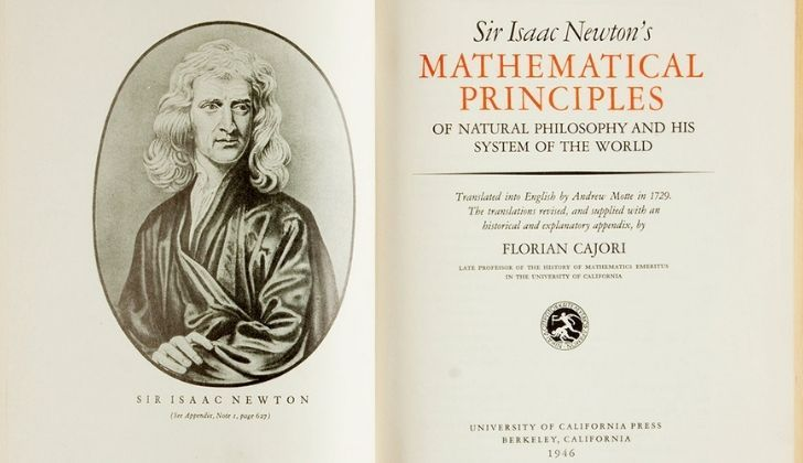 The inside cover of the Principia book