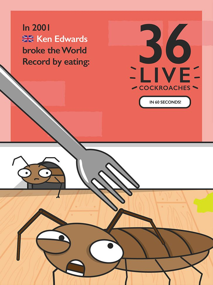 World record for eating 36 live cockroaches