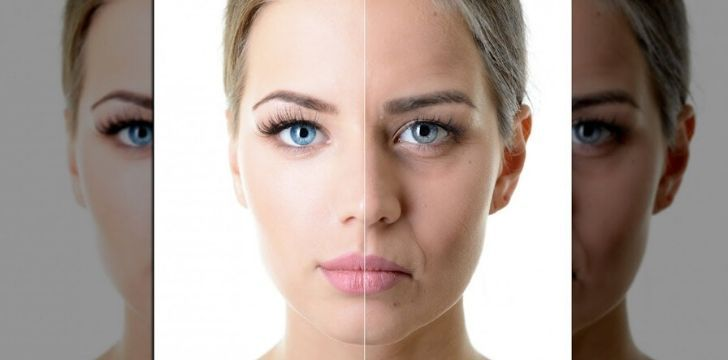 A woman face looking younger on one side then the other