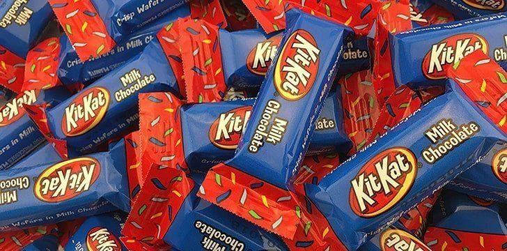 Kit Kat's have had different colored packaging throughout history.