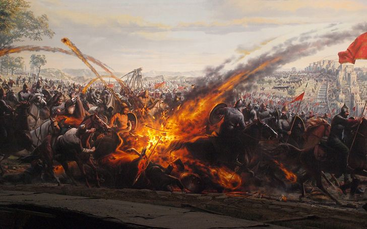 The Eastern Roman (Byzantine) Empire had a weapon called Greek Fire they used in ship-mounted flamethrowers.
