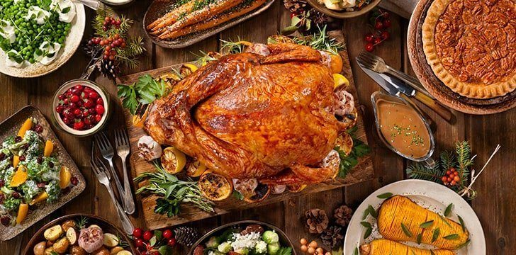 The average person eats 4,500 calories at their Thanksgiving dinner.