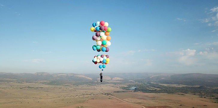 A Successful Attempt at flying with balloons.