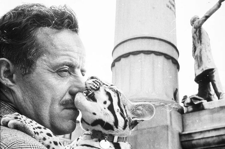 Salvador Dalí with pet Ocelot