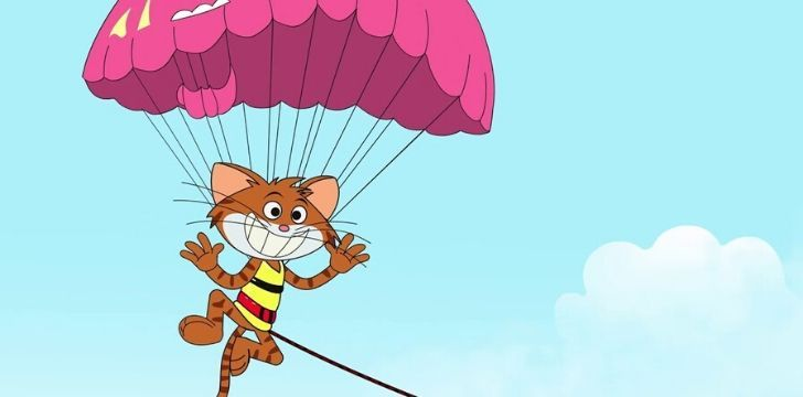 A happy cat using a parachute