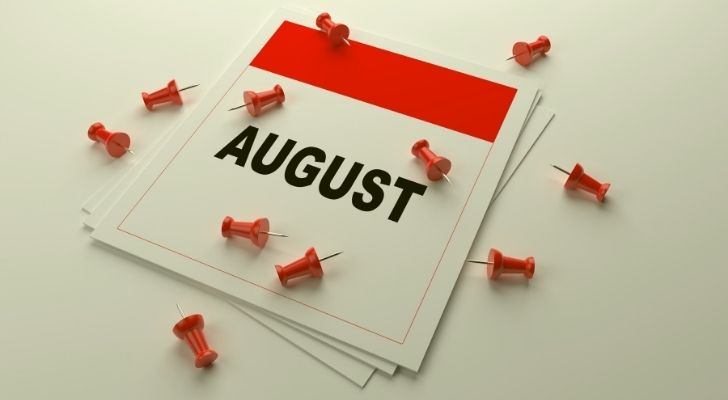August calendar with pins