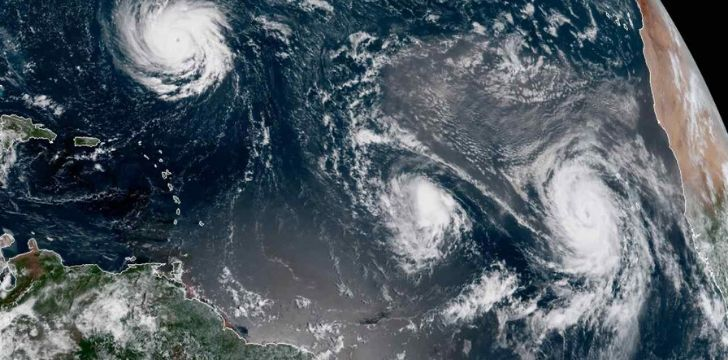 Numerous cyclones seen from space