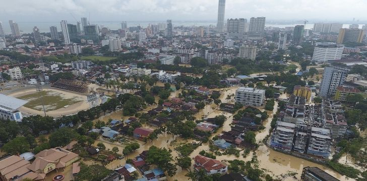 Severe flooding in an urban city