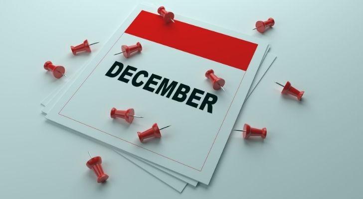 December calendar with pins