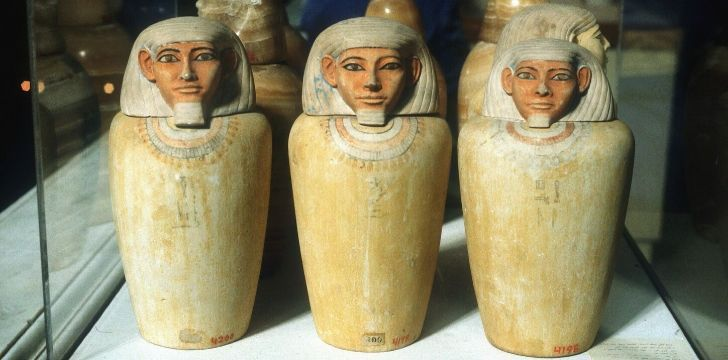 A set of Egyptian Canopic jars for organs.